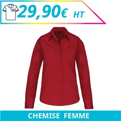 Chemise manches longues femme - Chemises à personnaliser - Imprimeur Marseille Textile