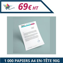 1 000 papiers à en-tête A4 90g - Papier en-tête à personnaliser - Imprimeur Marseille Textile