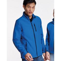 Veste softShell premium bleu avec 1 flocage